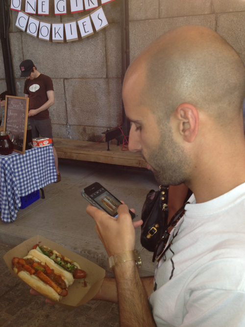 hipsters taking photos of food