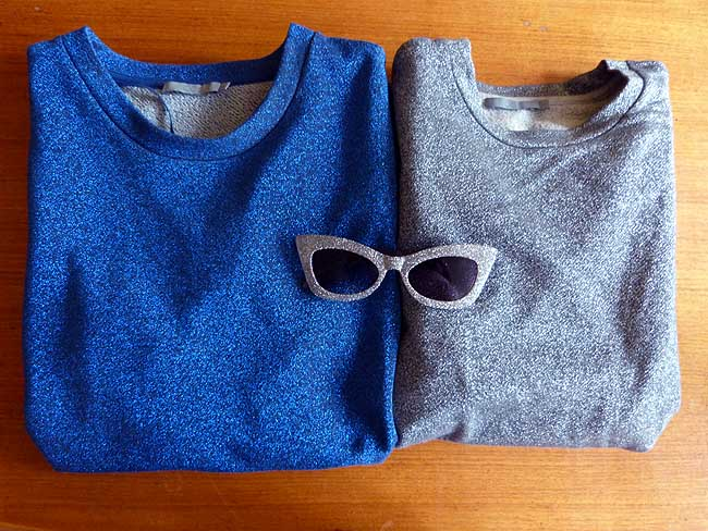 COS blue glitter jumper dress, COS silver glitter jumper and ASOS silver glitter cat eye sunglasses