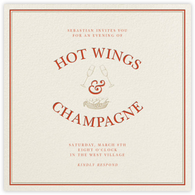 Derek Blasberg Hot Wings and Champagne card