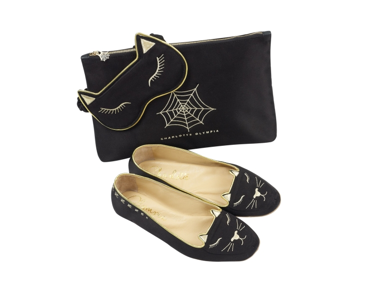 Charlotte Olympia Cat Nap slipper and silk mask set