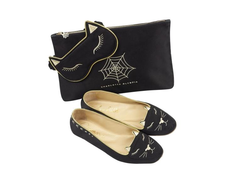 Charlotte Olympia Cat Nap slipper and silk mask set