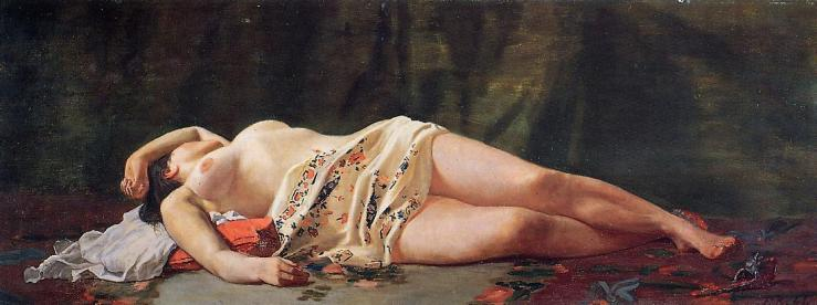 Reclining Nude by Frederic Bazille, 1864